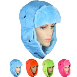 36 Units of Assorted Neon Color Winter Pilot Hat With Faux Fur Lining And Strap - Winter Hats
