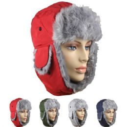 24 Units of Assorted Winter Pilot Hat With Faux Fur Lining And Strap - Trapper Hats
