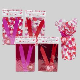 96 Units of 2 Pack Valentines Cello Gift Bag w| pull bows/tags - Valentine Gift Bag's