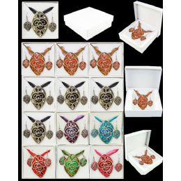 96 Units of EUROPEAN PENDANT IN ASSORTED COLOR - Necklace Sets