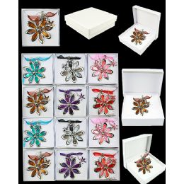 96 Units of EUROPEAN PENDANT FLORAL IN ASSORTED COLOR - Necklace Sets