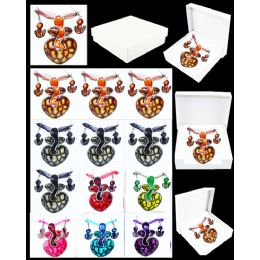 96 Units of European Pendant Heart Shape In Assorted Color - Necklace Sets