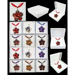 96 Units of MURANO GLASS FASHION NECKLACE ASSORTED FLOWERS - Necklace