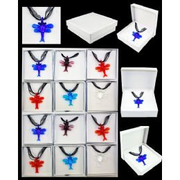 96 Units of ASSORTED COLOR DRAGONFLY MURANO GLASS NECKLACE - Necklace