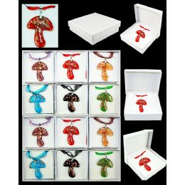 96 Units of ASSORTED COLOR MUSHROOM MURANO GLASS NECKLACES - Necklace