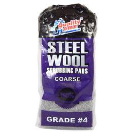 48 Units of Steel Wool Scrubbing Pads 10pk Grade #4 - Scouring Pads & Sponges