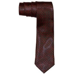 96 Units of Men's Black And Red Polka Dot Slim Tie - Neckties