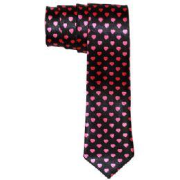 72 Units of Men's Black Slim Tie With Pens Black Slim Tie With Pink Hearts - Neckties