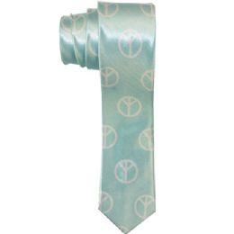 72 Units of Men's Slim Light Blue Tie With Peace Sign Print - Neckties