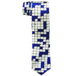 72 Units of Men's Slim Blue Tie With Checkerboard Print 104 - Neckties