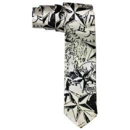 72 Units of Men's Slim Silver Tie With Pattern - Neckties