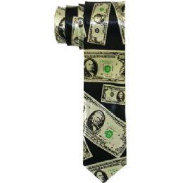 72 Units of Men's Slim Black Tie With Dollar Bill Print - Neckties