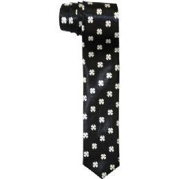 72 Units of Men's Slim Black Tie With Design - Neckties
