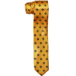 72 Units of Men's Slim Gold Tie With Pattern - Neckties