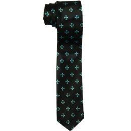 72 Units of Men's Slim Black Tie With Pattern - Neckties