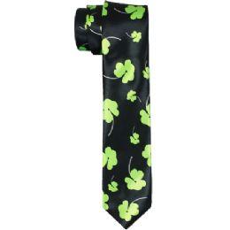 72 Units of Men's Slim Black Tie With Clover Print - Neckties