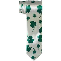 96 Units of Mens Slim Silver Tie With Green Leaves - Neckties