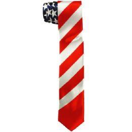 48 Units of Men's Slim American Flag Tie - Neckties
