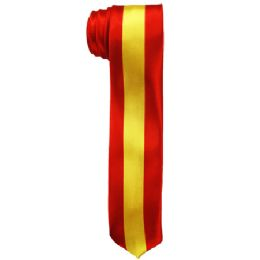 72 Units of Mens Slim Red And Yellow Striped Tie - Neckties