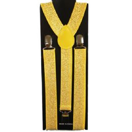 48 Units of Shimmery Yellow Adult Suspender - Suspenders