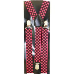 96 Units of Pink Checkered Suspenders - Suspenders