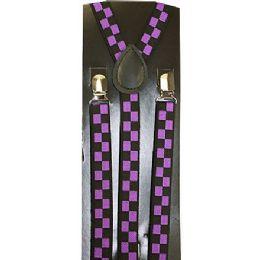 96 Units of Purple Checkered Suspenders - Neckties