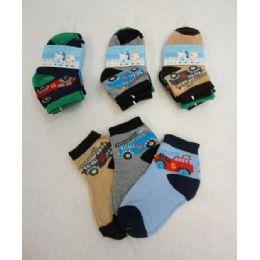 48 Units of 3 Pair Boy's Anklet Socks 2-4 [cars] - Boys Ankle Sock