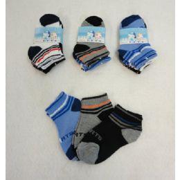 48 Units of 3 Pair Boy's Anklet Socks 2-4 [sports - Boys Ankle Sock