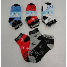 48 Units of 3pr Boy's Anklet Socks 4-6 [Spider] - Boys Ankle Sock