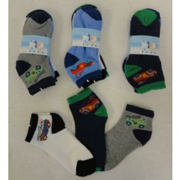 48 Units of 3pr Boy's Anklet Socks 6-8 [Cars] - Boys Ankle Sock
