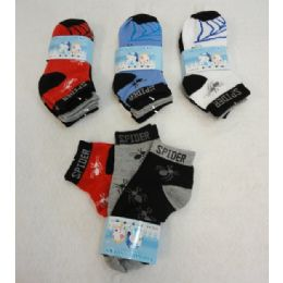 48 Units of 3pr Boy's Anklet Socks 6-8 [Spider] - Boys Ankle Sock