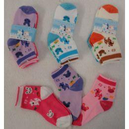 48 Units of 3pr Girl's Anklet Socks 2-4 [Deer & Bunny] - Baby Apparel