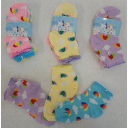 60 Units of 3pr Girl's Anklet Socks 2-4 [umbrella & Clouds] - Girls Ankle Sock