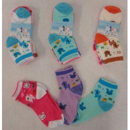 60 Units of Girl's Anklet Socks 4-6 [deer & Bunny] - Girls Ankle Sock