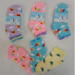60 Units of 3pr Girl's Anklet Socks 4-6 [umbrella & Clouds] - Girls Ankle Sock