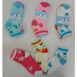 60 Units of 3pr Girl's Anklet Socks 6-8 [deer & Bunny] - Girls Ankle Sock