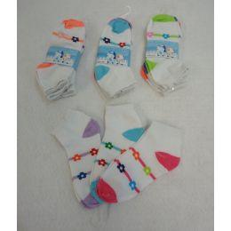 60 Units of 3pr Girl's Anklet Socks 6-8 [stripes & Daisies] - Girls Ankle Sock