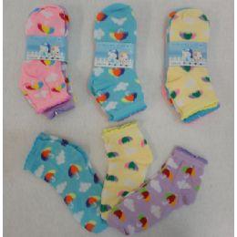60 Units of Girl's Anklet Socks 6-8 [umbrella & Clouds] - Girls Ankle Sock