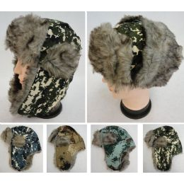 24 Units of Bomber Hat With Fur Lining [digital Camo] - Trapper Hats
