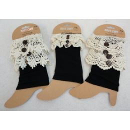24 Units of Boot Cuffs Black With Antique Lace Assortment - Arm & Leg Warmers