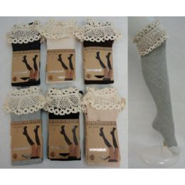 48 Units of Boot Socks-Diagonal Ribbing Wide Antique Lace - Womens Knee Highs