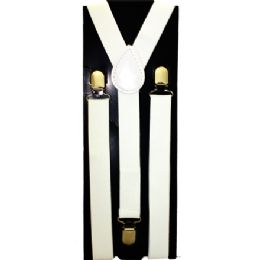 12 Units of KIDS SOLID WHITE SUSPENDERS - Suspenders