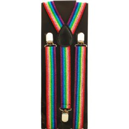 48 Units of KIDS SPARKLY RAINBOW SUSPENDERS - Suspenders