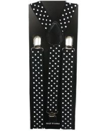 12 Units of KIDS BLACK SUSPENDERS WITH WHITE DOTS - Suspenders