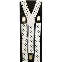 48 Units of KIDS WHITE SUSPENDERS WITH BLACK DOTS - Suspenders