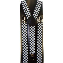 48 Units of KIDS WHITE AND BLACK CHECKERED SUSPENDERS - Suspenders