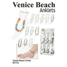 96 Units of Venice Beach Anklet Assorted Colors - Ankle Bracelets