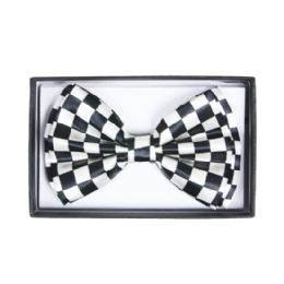 48 Units of Checkered White Bow Tie 040 - Neckties