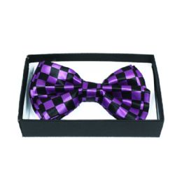 48 Units of Checkered Purple Bow Tie 042 - Neckties