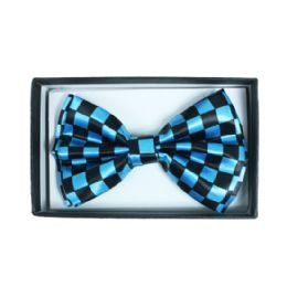 48 Units of Checkered Blue Bow Tie - Neckties